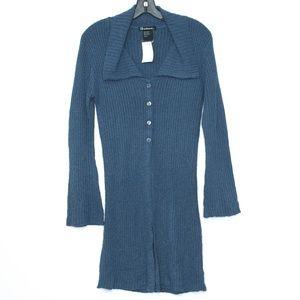 NWT Coolwear Cardigan Duster Button Blue Medium F2